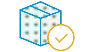 Illustration of package with check mark, indicating delivery